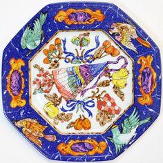 """Hermes Marqueterie Limoges Octagonal Porcelain Plate"""