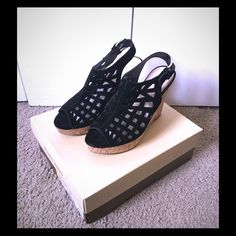 ‼️LOWEST PRICE‼️ Black Suede Wedges  DONATING 4/1 NO OFFERS, LOWEST PRICE  These are the most comfortable wedges I've owned however they don't fit with the trends I have in my closet. I wore these once for graduation about three years ago and they have been in the box since! Original box included! Franco Sarto Shoes Wedges