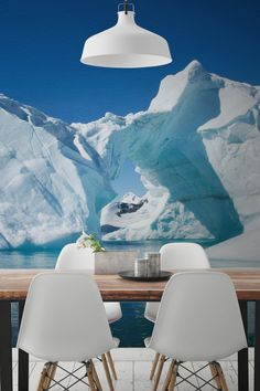 On the lookout for something different for your walls? These mesmerising Antarctic icebergs are one of nature's most beautiful structures. The palette of soft blues give your home a refreshingly cool aesthetic. This landscape wallpaper mural looks spectacular in dining rooms, setting the scene for laid-back dinner parties.