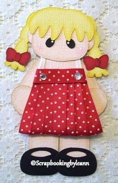 Make dresses for the little girl die cuts out of ribbon....so cute!
