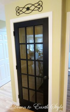 such a neat idea replace traditional basement door with a french door via Down to Earth Style. We finally did this in our home to our basement door. Basement Makeover, Basement Renovations, Home Remodeling, Basement Ideas, Basement Layout, Door Makeover, Basement Doors, Basement House, Walkout Basement