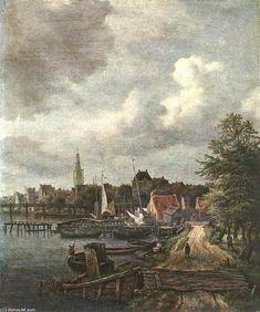 Voir d Amsterdam (2), huile sur toile de Jacob Isaakszoon Van Ruisdael (Ruysdael) (1628-1682, Netherlands)