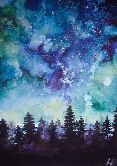 Art, blue, and arts image watercolor night sky, night sky painti Watercolor Night Sky, Watercolor Pencil Art, Night Sky Painting, Watercolor Galaxy, Galaxy Painting, Galaxy Art, Watercolor Landscape, Watercolor Paintings, Space Watercolor