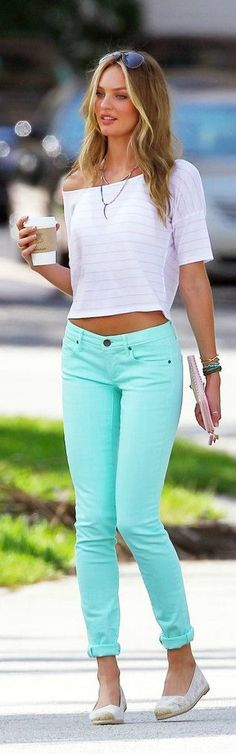 #street #fashion Candice Swanepoel mint @wachabuy