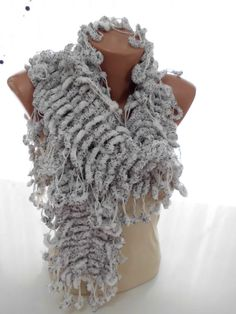 White Curly mulberry long scarf neckwarmer cowl by kKnittedFashion, $22.00