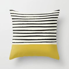 Mustard Yellow & Stripes Couch Throw Pillow by Leah Flores - Cover x with pillow insert - Indoor Pillow Striped Couch, Striped Cushions, Printed Cushions, Cushions On Sofa, Geometric Cushions, Sofa Bed, Yellow Throw Pillows, Decorative Throw Pillows, Cushion Covers