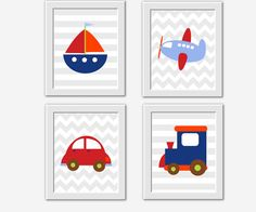 Transportation Wall Art Train Plane Car Sailboat Boy Room Wall Decor Baby Nursery Decor Toddler Boy Room Wall Art Airplane Boat Baby Boy Art