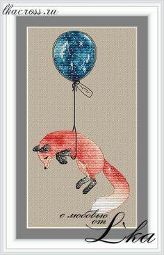 "Схема для вышивки крестом. Cross stitch pattern. ""Лисичка на шарике"""