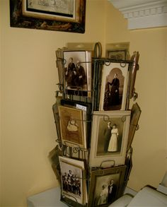 Antique post card rack used to hold family photos