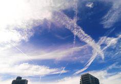 Blue sky white line