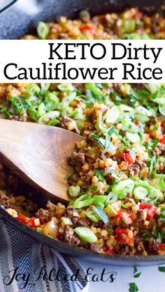 Keto Dirty Cauliflower Rice – Low Carb, Gluten-Free, Grain-Free, THM S - nutrition ideas Rice Recipes, Beef Recipes, Low Carb Recipes, Healthy Recipes, Turkey Recipes, Keto Side Dishes, Sans Gluten, Gluten Free, Cauliflower Recipes