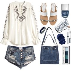 Denim Days by bamaannie on Polyvore featuring Office, Leatherock, By Terry, Clinique and Nails Inc.