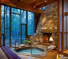 Stunning Indoor Fireplace And Hot Tub.