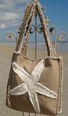 Sea Beach Bag - Starfish Ivory on Khaki Nautical Tote Bags, Beach Tote Bags, Diy Bags Jeans, Tods Bag, Denim Handbags, Art Bag, Unique Purses, Boho Bags, Denim Bag