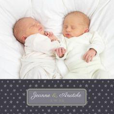 faire-part de naissance jumeaux nuit étoilée - pour www.fairepartnaissance.fr (Demandez vos échantillons gratuits !)