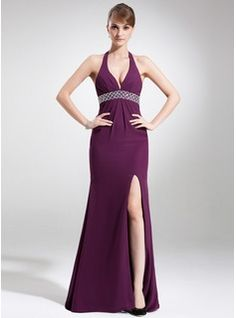 Special Occasion Dresses - $151.99 - Trumpet/Mermaid Halter Sweep Train Chiffon Prom Dress With Beading Split Front  http://www.dressfirst.com/Trumpet-Mermaid-Halter-Sweep-Train-Chiffon-Prom-Dress-With-Beading-Split-Front-018004886-g4886