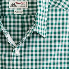 Thomas Mason fabric green gingham shirt from J. Crew