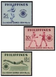 1954, May 31.  Second Asian Games, Manila; 5c, 18c, 30c - Singles, Sheets of 50.