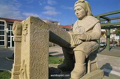 Statue of a Palilleira (lace-maker), Camarinas, Galicia, Spain