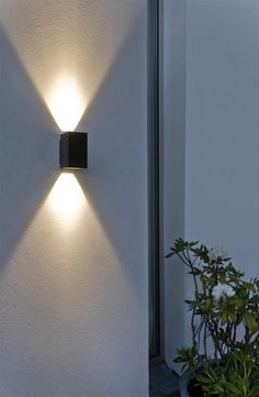 exterior wall sconces, exterior wall light, minimalist style by dcmetromodern Modern Exterior Lighting, Facade Lighting, Exterior Wall Light, Modern Lighting, Lighting Design, Exterior Stairs, Lighting Ideas, Outdoor Wall Lamps, Outdoor Walls