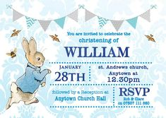 10 Personalised Peter Rabbit Christening Invitations with envelopes. Christening Invitations Boy, Christening Party, Boy Birthday Invitations, Baby Boy Baptism, Baby Baby, Personalised Bunting, Baby Planning, Peter Rabbit, Trendy Baby