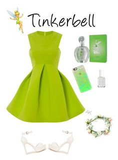 """""""DisneyBound"""" by alexiskitty ❤ liked on Polyvore featuring Disney, Nly Shoes, Casetify, Essie, outfit, like, tinkerbell and disneybound"""