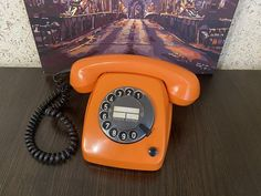 Rare Vintage phone Siemens 1976s, Orange phone, Retro phone, Old rotary phone, Circle dial rotary phone, German phone, Homephone, Disk phone Vintage Phones, Vintage Telephone, Orange Phone, Pay Attention To Me, Retro Phone, Old Desks, Home Phone, Vintage Gifts