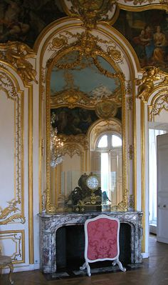 Large Regence style fireplace made in Peach Flower marble, decorating the oval room in the Soubise Hotel in Paris. Marble House, Palace Of Versailles, French Architecture, Napoleon Iii, Rococo Style, French Chateau, Paris Hotels, Through The Looking Glass, Shades Of Purple