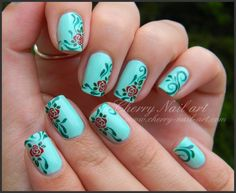 ...Nail art roses et arabesques - stamping nouvelle generation — Cherry Nail Art on We Heart It