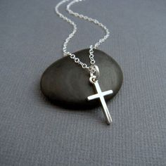 silver cross necklace. SMALL. sterling silver cross pendant. smooth finish. simple. minimalist necklace. christian jewelry. 5/8 inch on Etsy, $25.00