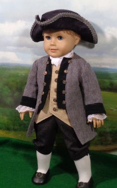 "Colonial Boy's Gray Frock Coat Outfit for 18"" dolls by SugarloafDollClothes on Etsy $80.00"