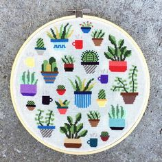 Botany cross stitch plant pattern. A perfect gift for your favorite plant lover!