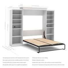"""Bestar Queen Wall Bed in White with two 25"""" Storage Units"""