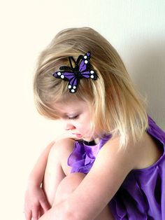 Felt butterfly hair clip - Glitter Purple, black and white $3.85