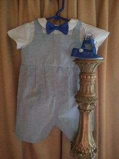 Baby Boy Clothes, Baby Boy Romper, Baby Boy Dressy, Baby Booties, Twin Boys Outfits, Baby Boys Special Occasion Attire by BlueStork on Etsy https://www.etsy.com/listing/210568482/baby-boy-clothes-baby-boy-romper-baby