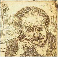 """Vincent van Gogh. """"Portrait of Doctor Gachet: L'Homme à la Pipe"""" (1890). Graphic, etching."""