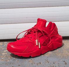 Nike Air Huarache Custom Red Gold Plated Metal Aglets Hella Dope Swag Streetwear Footwear