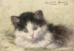 Henriette Ronner-Knip (Dutch, 1821-1909)  An inquisitive look  signed and dated 'Henriette Ronner 1903' (upper right)  oil on panel  5½ x 7½ in. (14 x 19 cm.) private collection