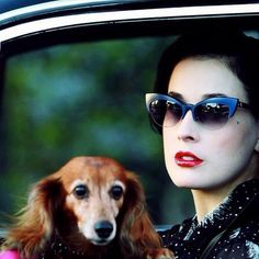 e71ffcc4a0669 Dita Von Teese with her beloved dog Eva. The long haired dachshund recently  went missing and was later found dead. Exactly how the pet pooch passed  away is ...