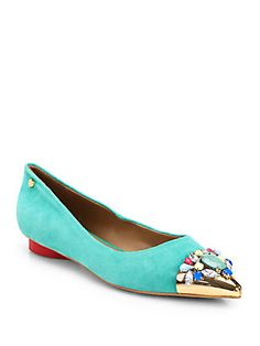 Be careful. With the bright jewels and bright suede, you might miss the heart-shaped red heel. I heart these. Love Moschino $295