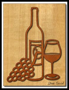 Scrollsaw Workshop: Wine bottle and glass picture