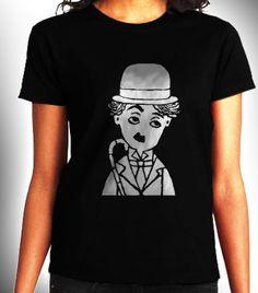 Charlie Chaplin Women Black Shirt XS S M L XL Rare by CahyaAbadi, $23.50