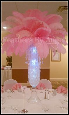 Rent Ostrich Feather Centerpieces Includes 30 Quot Reversible Glass Trumpet Vase Clear Liquids