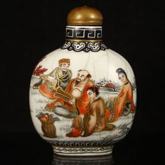 Hand-painted Chinese Gilt Edges Iron Red Glaze Porcelain Snuff Bottle w Eight Taoism Deity w Qianlong Mark