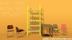 Eames Chairs, Nesting Tables & General Eclectic Tall Bookshelf by Marcussims91 - Sims 3 Downloads CC Caboodle