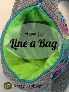 Crochet handbags 232146555779293216 - How to line, add pockets and a zipper to a crochet bag – Krazy Kabbage Source by anna_verkerk Crochet Pattern Free, Free Crochet Bag, Crochet Purse Patterns, Crochet Motifs, Crochet Tote, Crochet Handbags, Crochet Purses, Crochet Crafts, Crochet Stitches