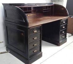 Antique Industrial Steel Roll Top Desk, Quarter Sawn Oak Interior Art Metal image 2