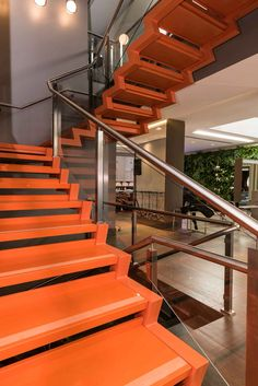 Nelson Studio. Caxias do Sul, RS. Brazil. 2016 20 M2 (215 sqft) of Cool 2cm staircase, steps with rough non-slip running grooves Santa Catarina Center. Bianca Zoehler. Cristina Mioranza (architect)
