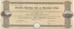 SOCIETA' ERITREA PER LE MINIERE D'ORO - #scripomarket #scriposigns #scripofilia #scripophily #finanza #finance #collezionismo #collectibles #arte #art #scripoart #scripoarte #borsa #stock #azioni #bonds #obbligazioni