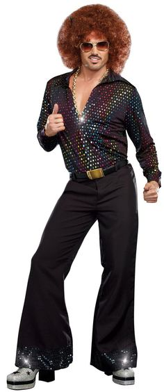 Be the king of the dance floor in this Disco Dude Shirt! This men's disco shirt is black with a prismatic dot pattern. Mens Disco Costume, Costume Shirts, Retro Costume, Hippie Costume, 70s Outfits, Disco Shirt, Disco Pants, Onda Disco, Disco Hose